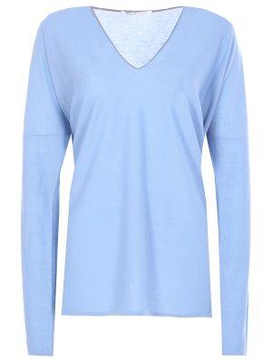 Пуловер из кашемира AGNONA. Цвет: голубой