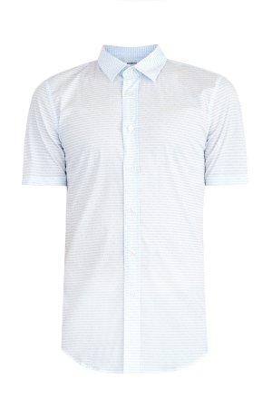 Рубашка из поплина stretch с коротким рукавом и микро-принтом BIKKEMBERGS. Цвет: голубой