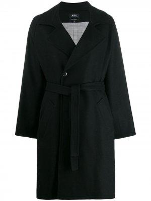 Пальто с поясом A.P.C.. Цвет: черный