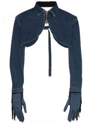 Джинсовая куртка-болеро с бахромой и перчатки Diesel Red Tag. Цвет: синий