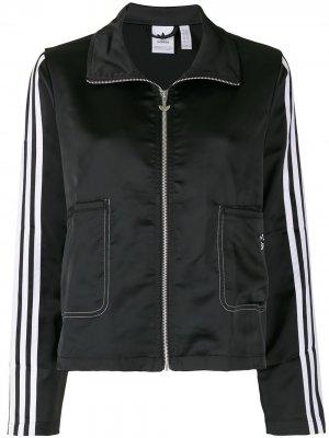 Спортивный топ на молнии adidas. Цвет: черный