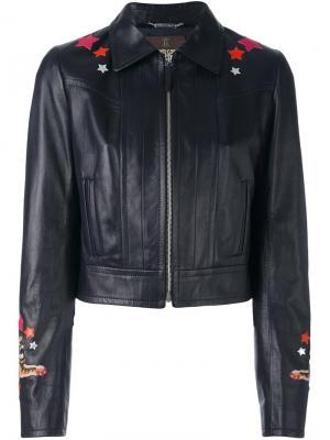 Кожаная куртка с нашивкой на спине Roberto Cavalli. Цвет: синий
