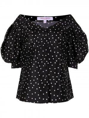 Блузка с открытыми плечами и узором в горох Carolina Herrera. Цвет: черный