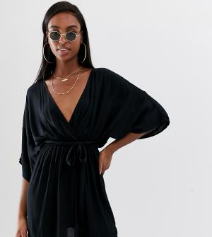 Черная пляжная накидка с глубоким вырезом, поясом и рукавами-кимоно ASOS DESIGN Tall-Черный Tall