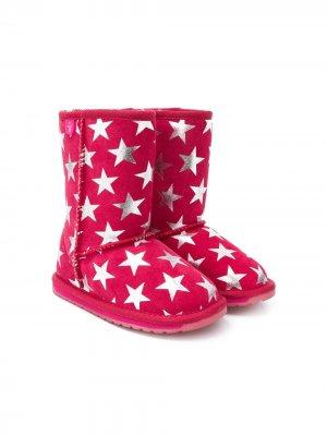 Star print boots Emu Kids. Цвет: розовый