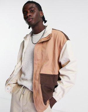 Коричневая выбеленная джинсовая oversized-рубашка от комплекта ASOS DESIGN-Коричневый цвет Bershka