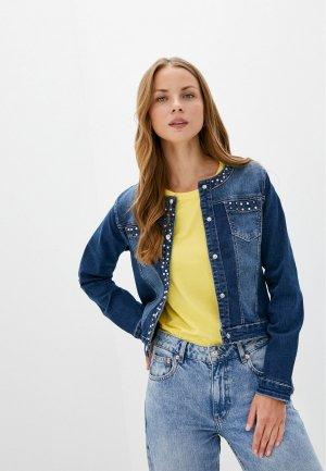 Куртка джинсовая Micha Edna. Цвет: синий
