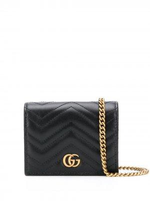 Кошелек GG Marmont на цепочке Gucci. Цвет: черный