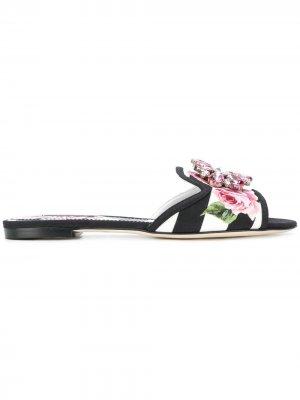 Декорированные сандалии в полоску Dolce & Gabbana. Цвет: черный