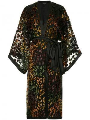 Платье с леопардовым узором Saloni. Цвет: черный