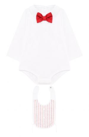 Хлопковый комплект из боди с нагрудником Dolce & Gabbana. Цвет: белый