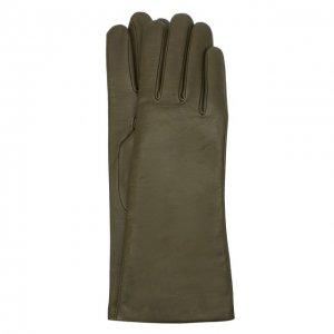 Кожаные перчатки Agnelle. Цвет: хаки