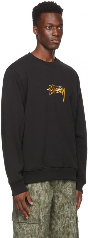 Black & Gold Embroidered Stock Sweatshirt Stüssy. Цвет: black