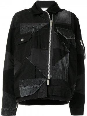 Джинсовая куртка в технике пэчворк Sacai. Цвет: черный