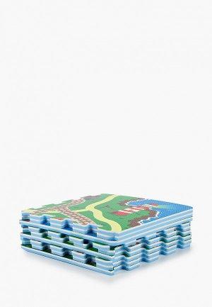Коврик ЯиГрушка -пазл Железная дорога, 1*32*32 см (9 деталей). Цвет: разноцветный