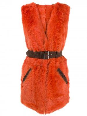 Sleeveless belted gilet Alberta Ferretti. Цвет: оранжевый