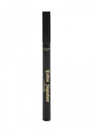 Подводка для глаз LOreal Paris L'Oreal водостойкая, Tattoo Signature by Superliner, оттенок 01, Черный. Цвет: черный
