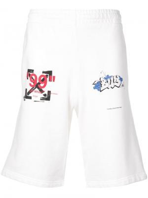Шорты с принтом логотипа Off-White. Цвет: белый