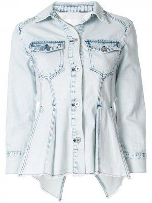Джинсовая куртка с открытой спиной Ground Zero. Цвет: синий