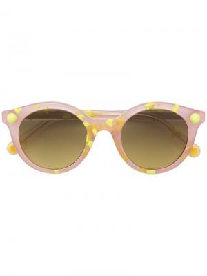 Солнцезащитные очки в круглой оправе Christopher Kane Eyewear. Цвет: желтый