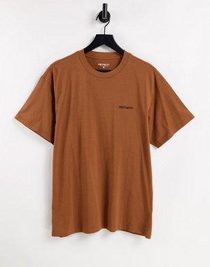 Футболка коричневого цвета с вышитой надписью -Коричневый цвет Carhartt WIP