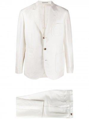 Костюм-двойка с однобортным пиджаком Brunello Cucinelli. Цвет: белый