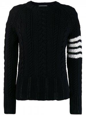 Пуловер Aran Cable с полосками 4-Bar Thom Browne. Цвет: синий