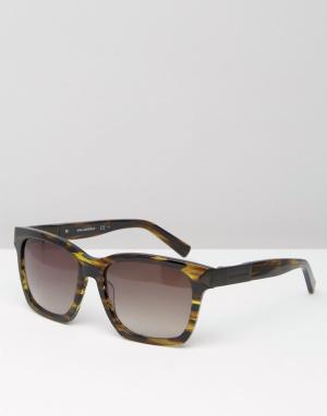 Коричневые квадратные солнцезащитные очки с мраморным принтом Karl Lag Lagerfeld. Цвет: зеленый