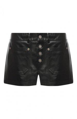 Кожаные мини-шорты Saint Laurent. Цвет: чёрный