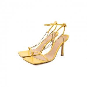 Кожаные босоножки Stretch Bottega Veneta. Цвет: жёлтый