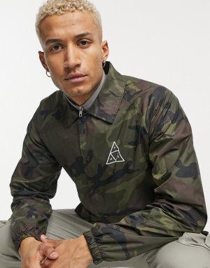 Спортивная куртка с камуфляжным принтом и логотипом Essentials-Зеленый цвет HUF