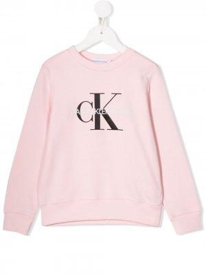 Толстовка с логотипом Calvin Klein Kids. Цвет: розовый