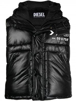 Дутый жилет с логотипом Diesel. Цвет: черный