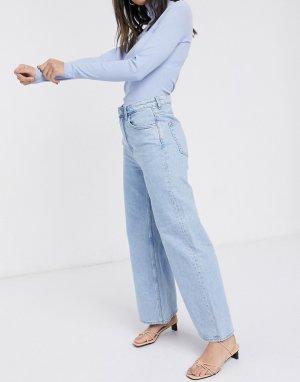 Широкие голубые джинсы Ace из органического хлопка-Синий Weekday