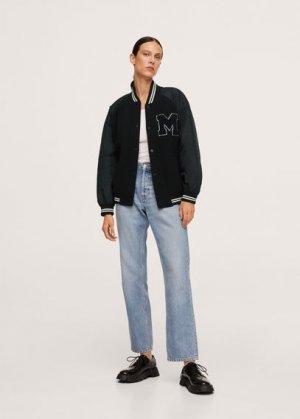 Куртка-бомбер с нашивкой - Rist Mango. Цвет: черный
