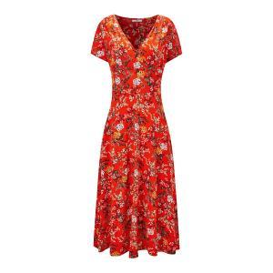 Платье-миди расклешенное с цветочным рисунком JOE BROWNS. Цвет: красный наб. рисунок