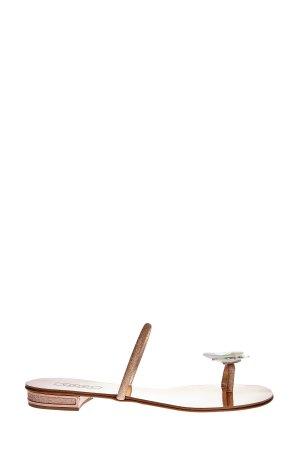 Шлепанцы на зеркальной кожаной подошве с кристаллами Swarovski CASADEI. Цвет: коричневый
