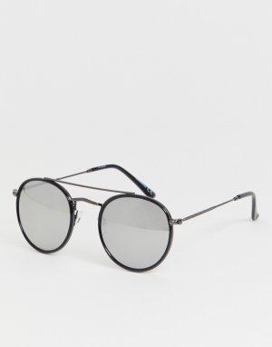 Круглые солнцезащитные очки в черной оправе -Черный Jack & Jones