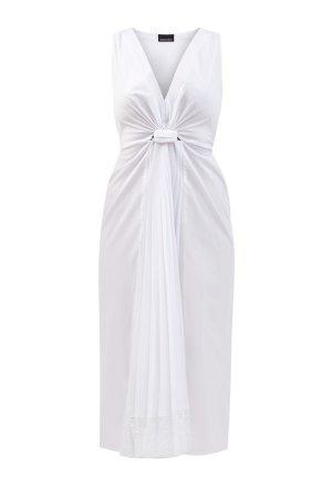 Хлопковое платье-миди без рукавов с глубоким вырезом ERMANNO SCERVINO. Цвет: белый