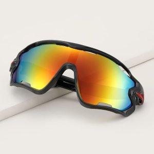 Мужские велосипедные ветрозащитные солнцезащитные очки SHEIN. Цвет: многоцветный