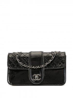 Стеганая сумка на плечо 2006-го года с двойной цепочкой Chanel Pre-Owned. Цвет: черный