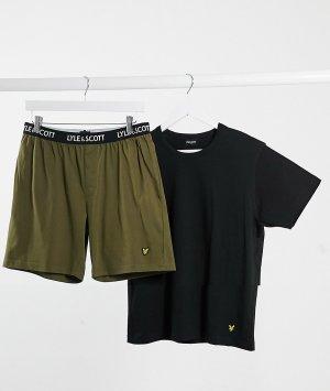 Пижама с черной футболкой и шортами цвета хаки Lyle & Scott-Черный Scott Bodywear