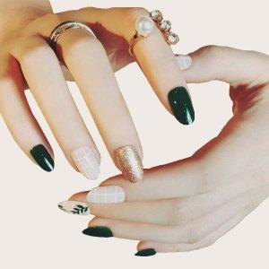 24шт блестящий накладные ногти SHEIN. Цвет: многоцветный