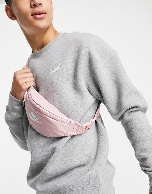 Розовая сумка-кошелек на пояс с переливающимся логотипом Heritage-Розовый цвет Nike
