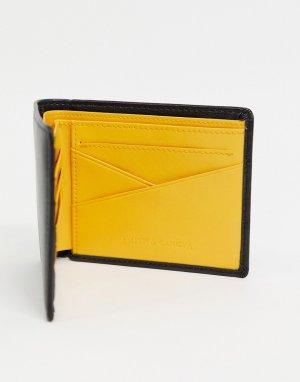 Кошелек черного цвета с контрастной желтой подкладкой Smith & Canova-Черный цвет And Canova