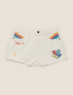 Джинсовые шорты с вышивкой Harry Potter ™ Marks & Spencer. Цвет: экрю