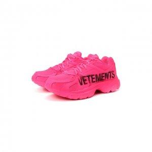 Текстильные кроссовки Vetements x Reebok Spike Runner 200. Цвет: розовый