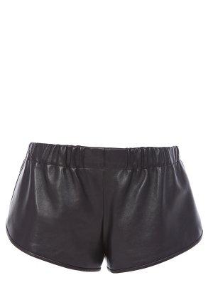 Кожаные шорты SAINT LAURENT. Цвет: черный