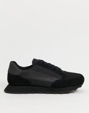 Черные кроссовки для бега с логотипом -Черный Armani Exchange
