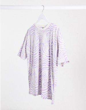 Свободная футболка с анималистичным принтом -Фиолетовый ASOS DESIGN